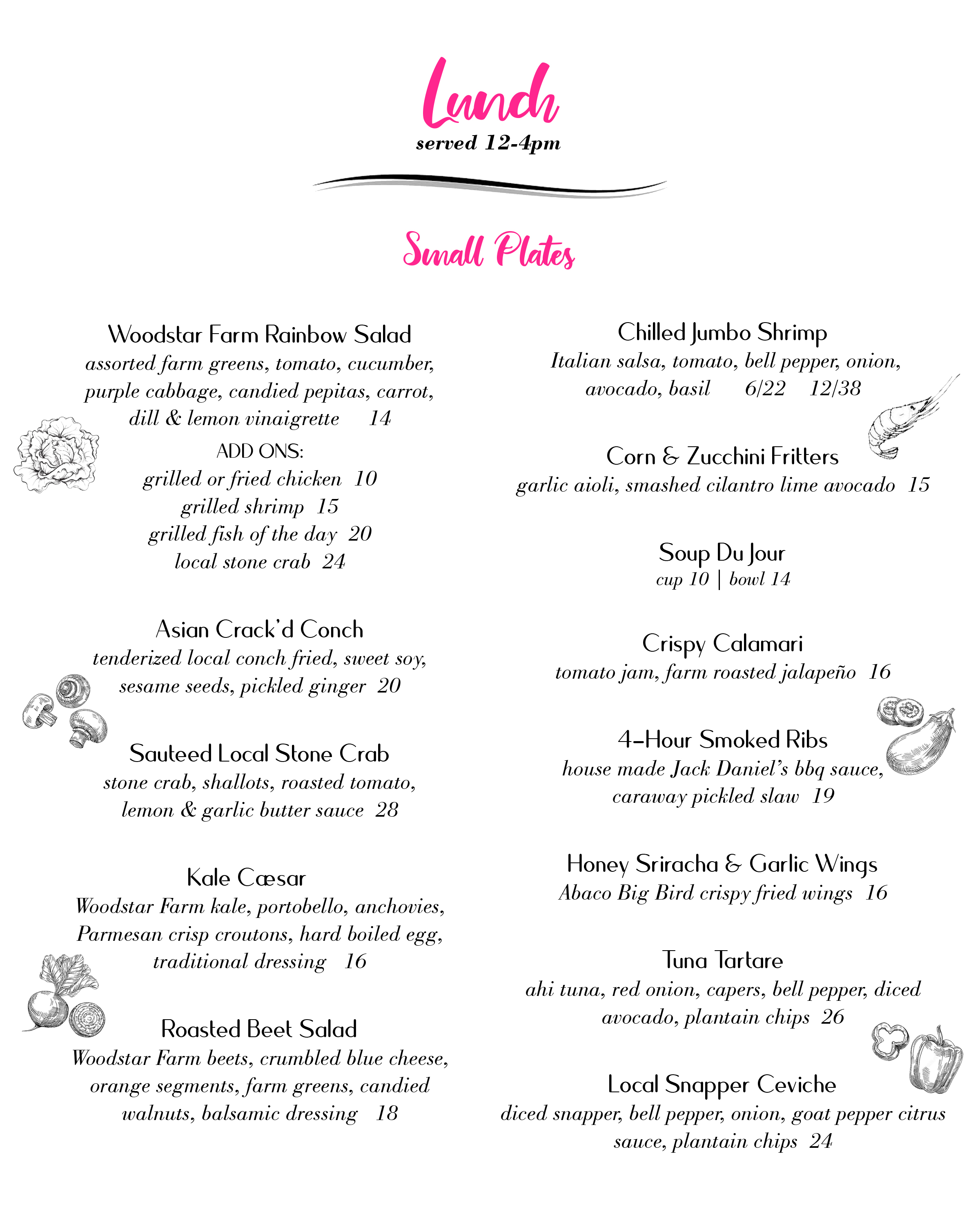 Lunch menu - small plates