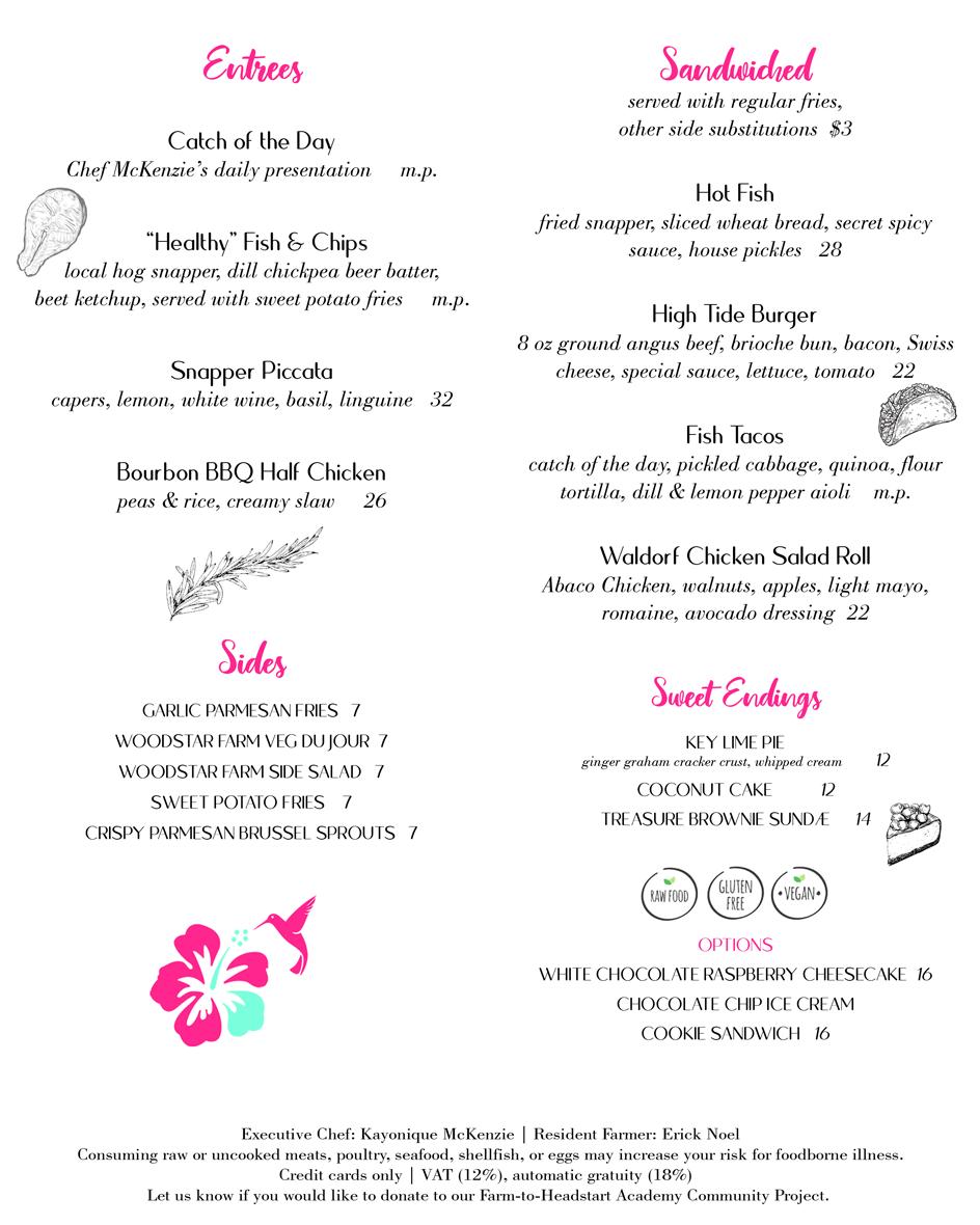 Lunch menu - mains.