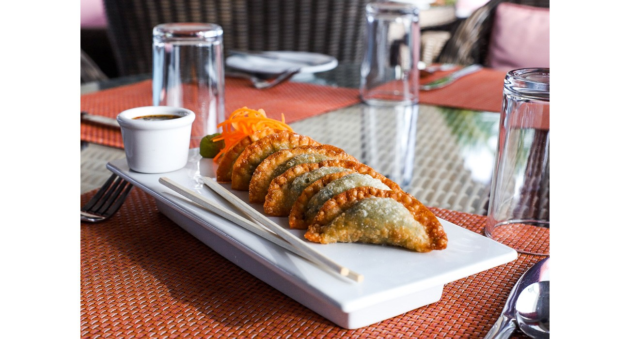plate of stone crab pot stickers